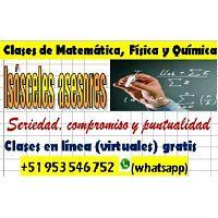 Clases de Matemáticas, Física y Química online gratis +51 953 546 752(whatsapp)